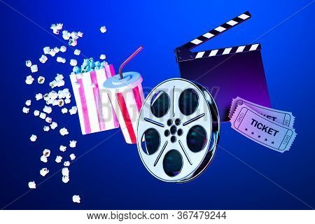 Popcorn Bowl, Takeaway Cup For Drink, Tickets, Film Reel And Movie Clapper On Blue Background. Onlin