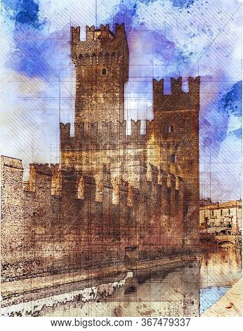 Scaliger Castle Towers In Sirmione By Lake Garda, Italy. Watercolor Sketch Style.
