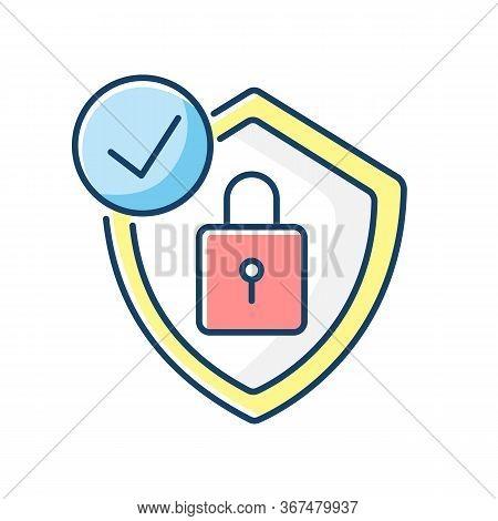 Antivirus Rgb Color Icon. Digital Encryption. Personal Data Protection. Padlock And Shield. Cybersec