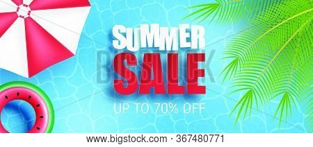 Summer Sale Banner Or Poster. Swimming Pool With Palm, Umbrella, Swim Ring From Top View. Shopping P