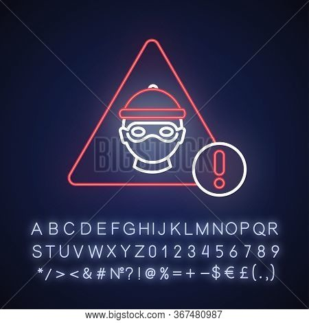 Cyber Crime Neon Light Icon. Hacker Attack. Internet Fraud Threat. Information Stealing Alert. Outer