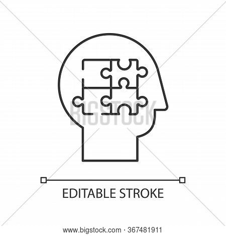 Elaboration Pixel Perfect Linear Icon. Logical Mindset. Counseling For Psychological Problem. Thin L