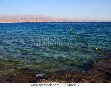 Beautiful View Of The Red Sea Eilat - Famous Resort City  And Nature Vacation Travel Attaction On Th