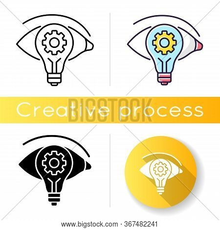 Vision Icon. Find New Strategy. See Fresh Smart Solution. Business Project. Progress Of Task. Creati