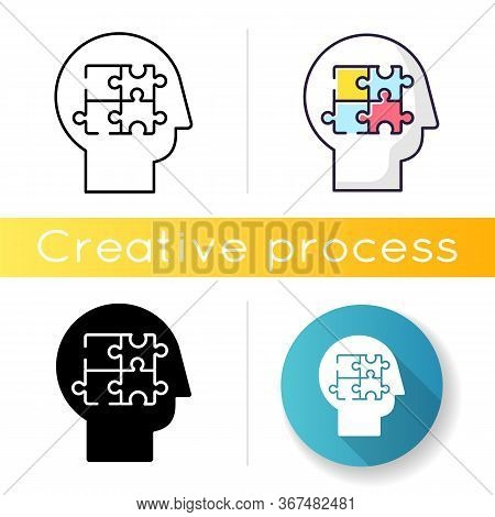 Elaboration Icon. Puzzled Mind. Logical Mindset. Counseling For Psychological Problem. Analysis For