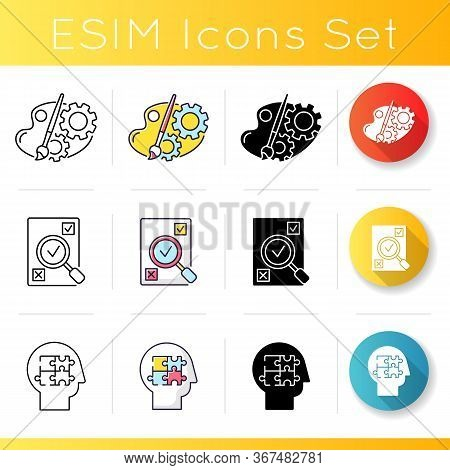 Logical Mind Icons Set. Creative Process Of Engineer And Designer. Assessement Of Project. Evaluate