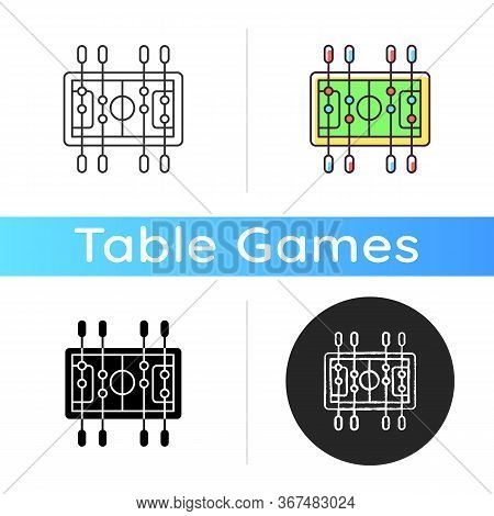 Table Soccer Icon. Traditional Friendly Party Recreational Activity. Linear Black And Rgb Color Styl