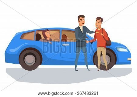 Automobile Purchase Flat Vector Illustration. Young Couple And Smiling, Salesman Cartoon Characters.