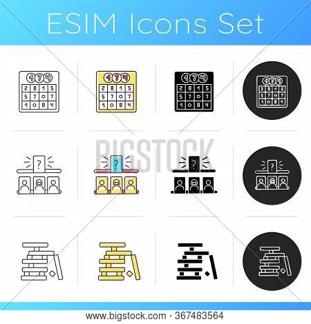 Leisure Games Icons Set. Popular Recreational Activities. Wooden Blocks, Guess Person Game And Lotto