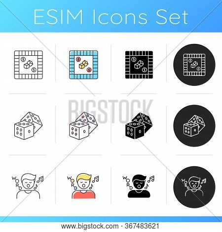 Traditional Recreational Games Icons Set. Popular Pastime, Fun Party Activities. Property Trading, S