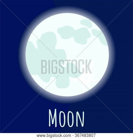 Moon Satellite With Craters For Logo, Outer Space, Symbol. Ransparent Shadow And Lettering.