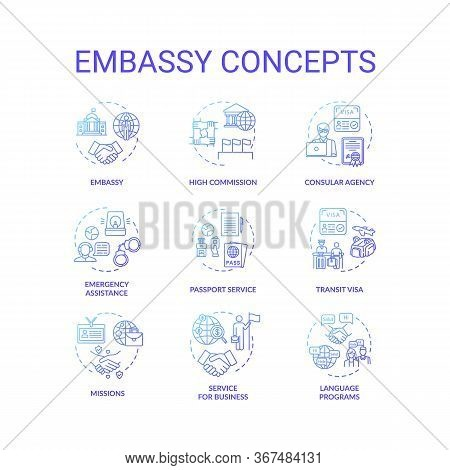 Embassy Concept Icons Set. International Relations Idea Thin Line Rgb Color Illustrations. High Comm
