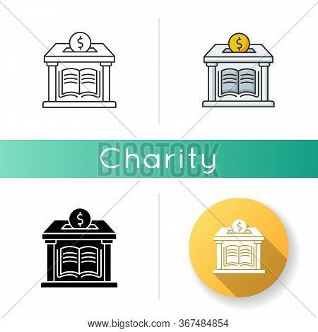 Public Library Donation Icon. Donate Money To Support Free Education. Charity For College And Univer