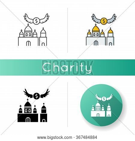 Church Donation Icon. Charity For Religious Community. Contribution To Christian Congregation. Offer
