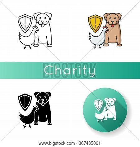 Wildlife Protection Icon. Rescue Domestic Animal. Shelter Campaign For Pets. Center For Saved Specie