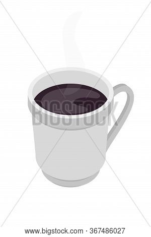 White Ceramic Cup On Saucer Isolated. Fresh Aroma Brown Natural Coffee Americano Or Espresso. Vector