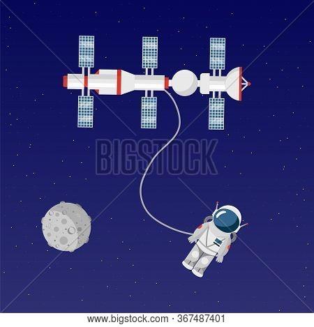 Astronaut In Open Space Flat Vector Illustration. Cosmonaut In Spacesuit Cartoon Character. Space Ex