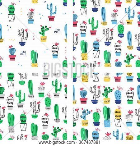 Cactus In Pot Seamless Pattern. Vector Set Of Cactus With Flowers.