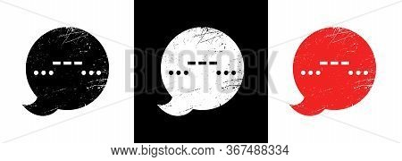 Sos Icon. Talking Bubble In Grunge Style With A Symbol. Morse Code - Three Dots, Three Dash Three Do