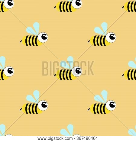 Wasp, Bee, Bumblebee Seamless Pattern On A Yellow Background.flat Illustration.cartoon Style.vector