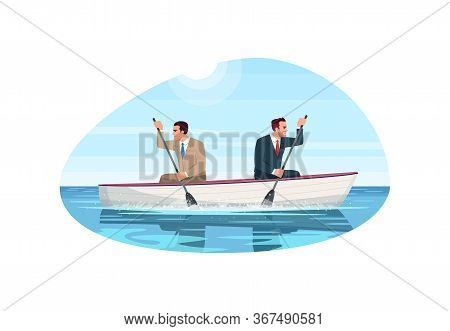 Business Competition Metaphor Semi Flat Vector Illustration. Conflict Between Employees. Rivalry In