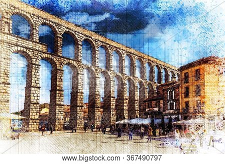 Plaza Del Azoguejo And Roman Aqueduct Of Segovia, One Of The Best-preserved Elevated Roman Aqueducts