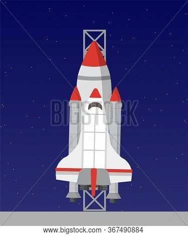 Spaceship Flat Vector Illustration. Cosmic Aircraft On Blue Background. Extraterrestrial Transport D