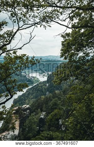 Saxon Switzerland Landscape On The River Elbe From Above Through Rocks And Trees In Saxon Switzerlan