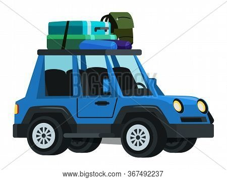 Sport Utility Vehicle Flat Vector Illustration. Blue Automobile With Backpack, Sleeping Bag And Suit