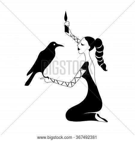 Woman In Black With Candle Asks The Raven. Gothic Dark Fantasy. Vector Outline Drawing Illustration.