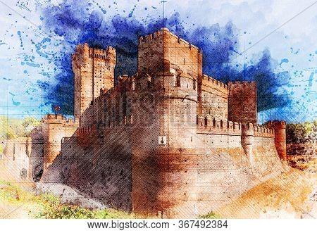 Graphical Wide Angle View Of Corner Of Castillo De La Mota In Medina Del Campo, Castille, Spain. Wat