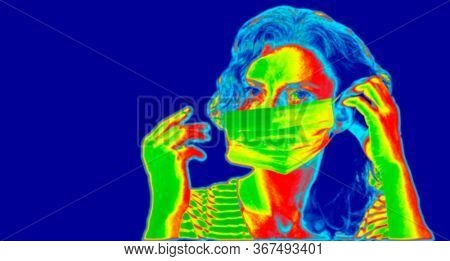 thermal camera picture detecting infected people with Covid-19. Coronavirus spread control concept.