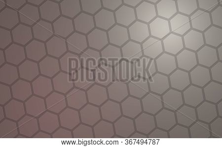 Honeycomb With Color Lighting, On A Gray Background. Perspective View On Polygon Look Like Honeycomb