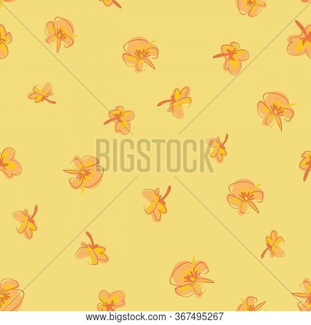 Loose Pansies Sketches Seamless Vector Pattern. Springtime Bloomers Surface Print Design In Sunny Co