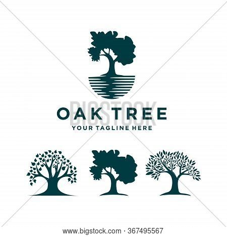 Oak Tree Icon Logo Set Vector Illustration
