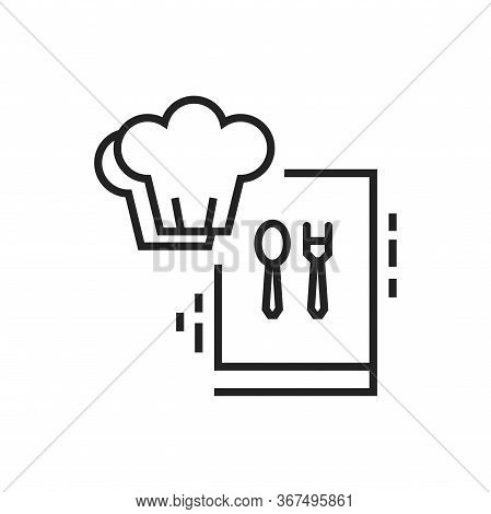 Cooking Courses Black Line Icon. Food Masterclass. Culinary School, Food Workshop, Chef Kitchenware.