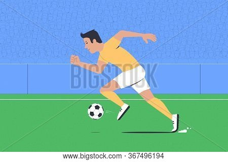 Football Player Dribbles. Football Match At The Stadium. Vector Illustration