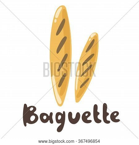 Baguette Bakery And Bread Icon Flat Style. Flour Products, Vector Stock Illustrator. Baguette - Simp