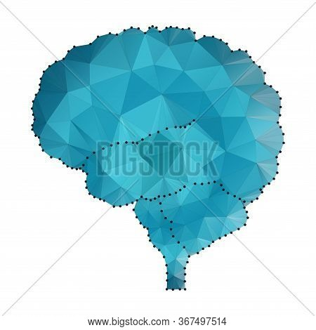 Shares Of The Brain, Low Poly Polygon Design With Connecting Dots. Polygonal Triangle Wireframe Styl