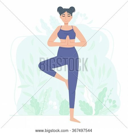 Sporty Girl Character Practice Sport Such As Fitness, Yoga Or Pilates. Womab Standing Tree Pose Vrik
