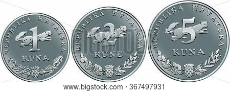 Set Of Obverse Croatian 1, 2 And 5 Kuna Coins With Marten, Coat Of Arms, State Title And Indication