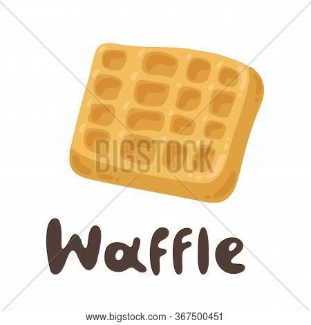 Tasty Belgian Waffle. Lovely Breakfast Waffle. Flour Products, Vector Stock Illustration. Viennese W
