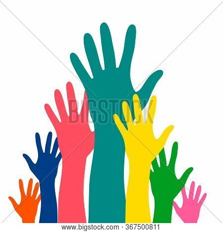 Hands Up Career Symbol Colorful Vector Illustration. Hands Silhouettes Cultural And Ethnic Diversity