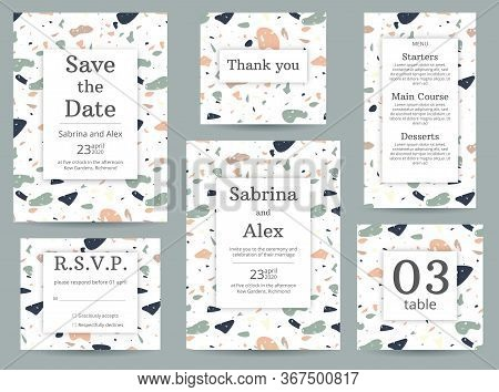 Terrazzo Wedding Invitation. Set With Invitation, Save The Date, Thank You Card, Rsvp, Menu And Tabl