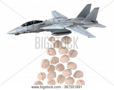 Warplane Launching Human Brain Instead Of Bombs, 3d Illustration