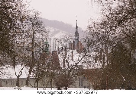 Beregvar Castle In The Village Of Karpaty In Winter, The Former Residence Of The Earls Of Schonborn,