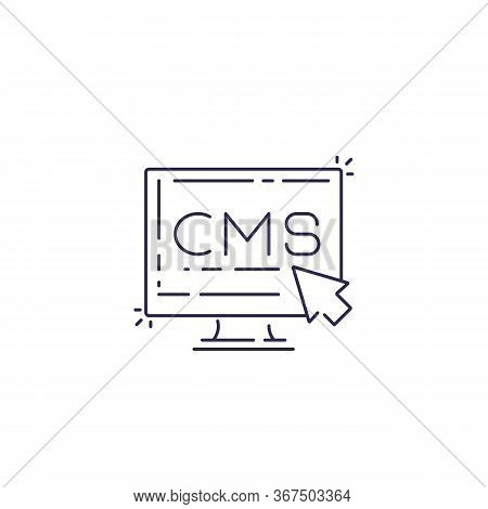 Cms, Content Management System Vector Line Icon, Eps 10 File, Easy To Edit