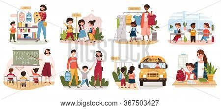 Eight Different Back To School Scenarios Showing Parents, School Kids, Teachers, Classroom And The S