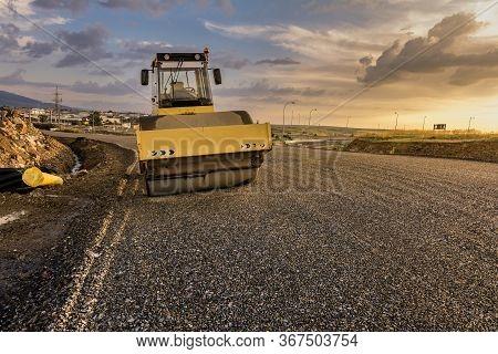 Steamroller Performing Road Paving Work In Spain