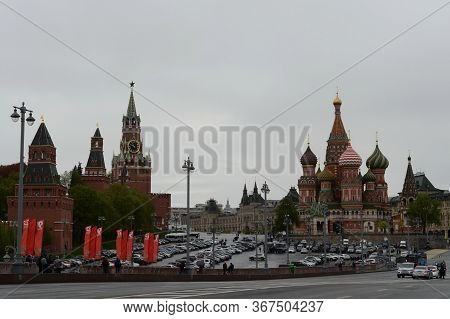 Moscow, Russia - May 9, 2020:view Of The Red Square Of Moscow From Vasilyevsky Descent